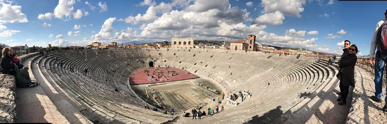 Arena di Verona Cloud - Sky History Ancient Panoramic Sky Architecture Large Group Of People Leisure Activity Real People Day Old Ruin High Angle View Archaeology Outdoors Ancient Civilization Built Structure Travel Destinations Arts Culture And Entertainment Men Lifestyles Arena Concerti