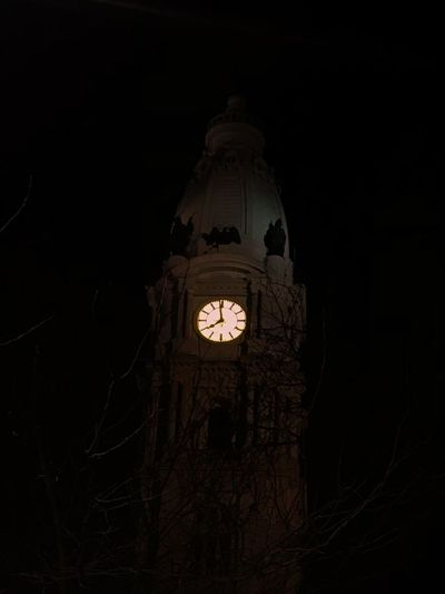 philly city hall Philadelphia Ominous Illuminated Night Dome Low Angle View No People Architecture Clock Clock Face Outdoors