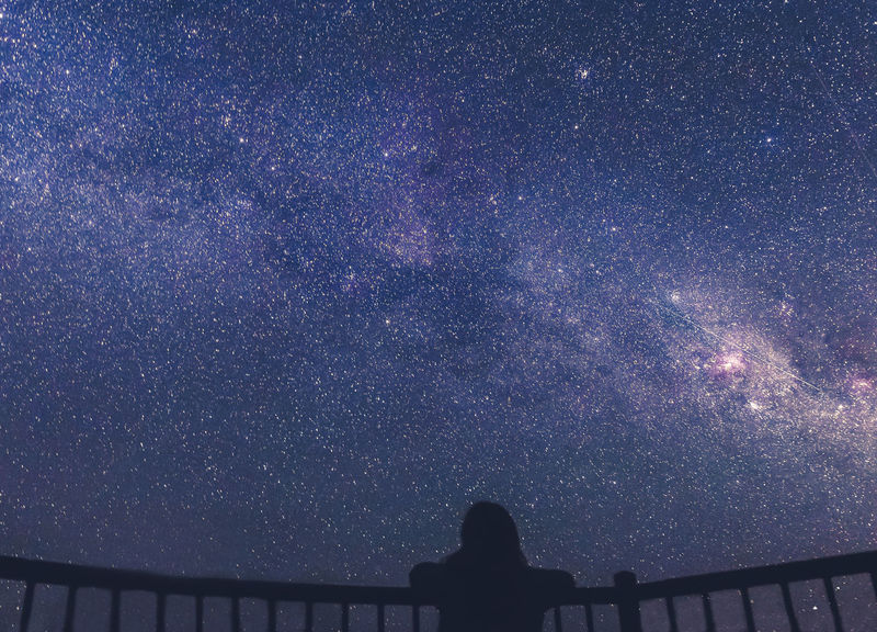 Night Star - Space Astronomy Silhouette Scenics Low Angle View Galaxy Constellation Nature Outdoors Star Field Beauty In Nature Space Milky Way Sky Cold Temperature People Illuminated Love Yourself
