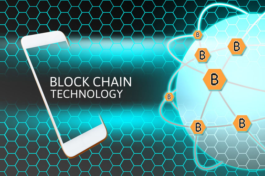 Economy Market Bitcoin Blockchain Technology Concept Display Media Sharing