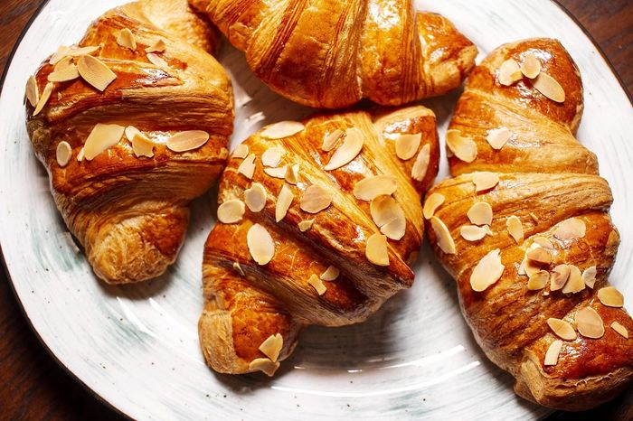 Food And Drink Freshness Still Life Table High Angle View Baked Croissant Bread French Food Sweet Food Ready-to-eat