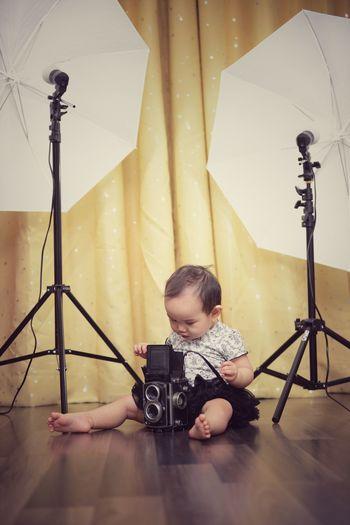Baby in photo studio