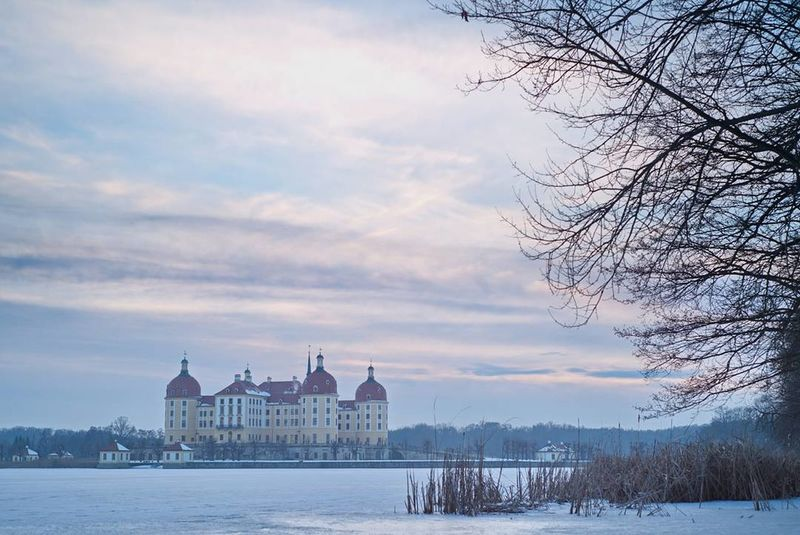 Sunset Architecture Romantic Sky Environment Cloud - Sky Sky No People Tree Nature Water Outdoors Moritzburg  Schloss Winter