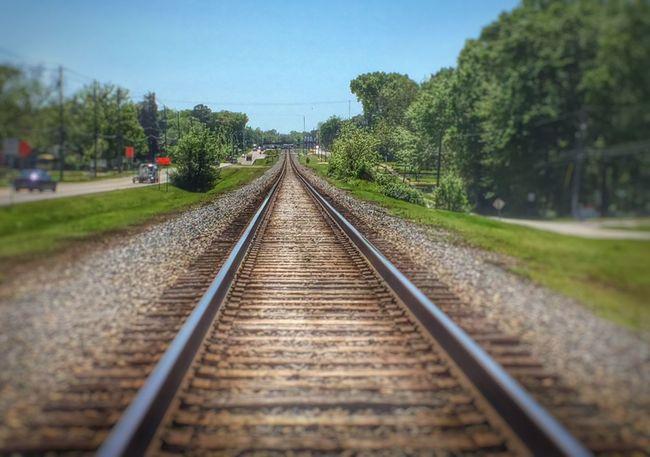 Train tracks heading west. Little blur effects with HDR. Train Tracks EyeEm Best Shots - HDR Blur On Purpose