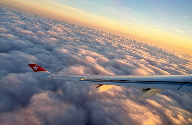 Back home Airplane Flying Sky Sunset Cloud - Sky Travel Plane No People Swissair