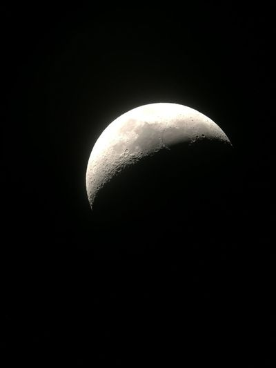 Astronomy Moon Night Moon Surface Space Space Exploration Majestic Beauty In Nature Copy Space Half Moon Planetary Moon Low Angle View Scenics Clear Sky Sky Outdoors Nature No People Crescent Discovery