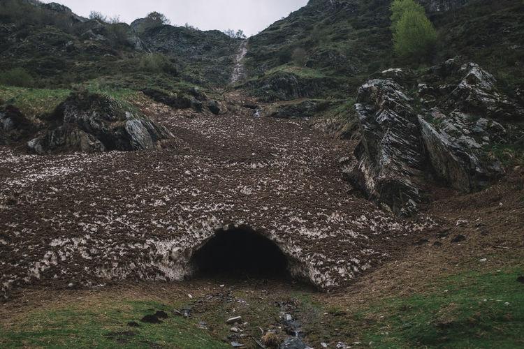 Scenic view of rocks on field