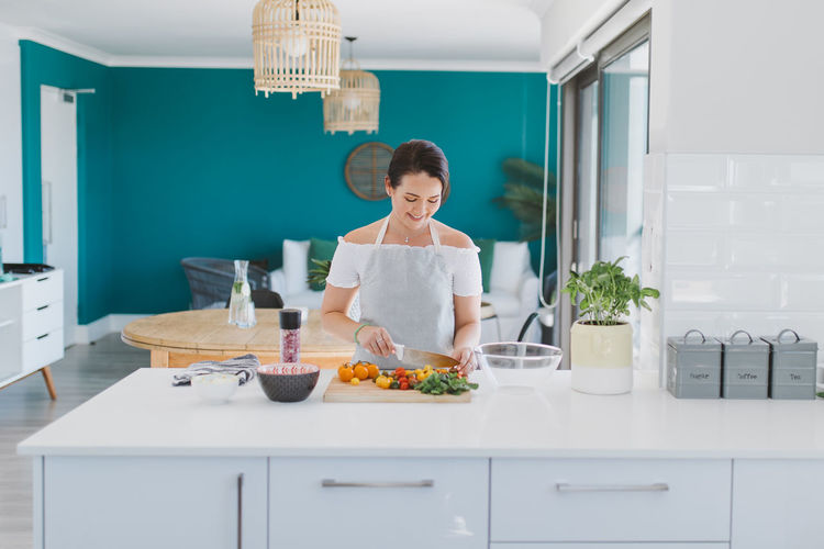 Cooking Diet Home Lifestyle Woman Colorful Healthy Eating Kitchen Vegetable