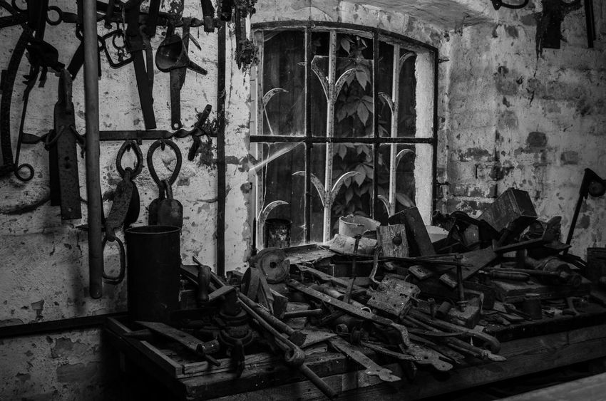 Indoors  Old-fashioned No People Close-up Museum Old Story Time Black & White Tools Rusted Metal