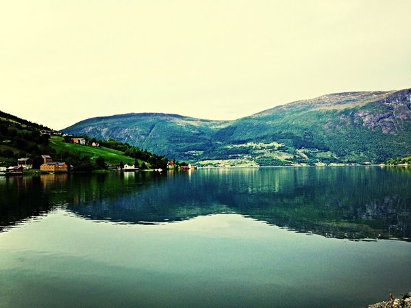 Beautiful Nature Water Reflections Fiordos Norway Great Atmosphere