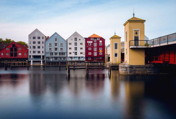 The old town of Trondheim in Norway. Architecture Cityscape Dengler Landscape Longexposure Matthias Nature Norway River Snapshopped Trondheim Water First Eyeem Photo