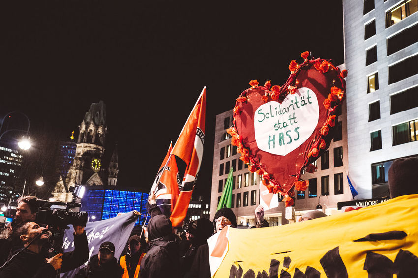 solidarity and love against hate! Berlin Breitscheidplatz Demonstration Love Night Outdoors Red Solidarity Streetphotography