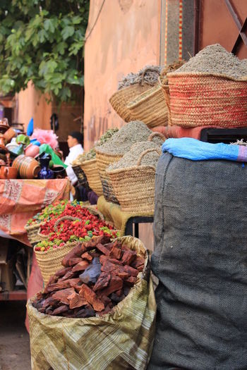 High angle view of spices in sack for sale at market
