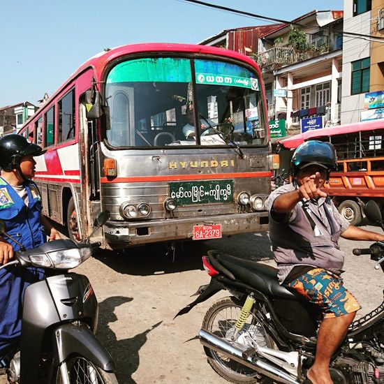 Old busses and motorbike taxes willing to give a ride to everyone passing by. Silvia In Myanmar Myanmar Burma Exploring New Ground Travel Photography Bus Traffic Motorbike Taxi Traveling Is Discovering ASIA Adventure Time