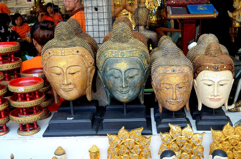 Buddha busts at market stall
