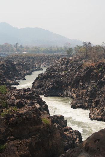 View Don Det Landscape Laos River Stone Sunny Day Wildlife