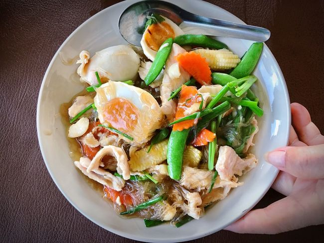 Stir fried vermicelli with salted eggs Vermicelli Ready-to-eat Food Freshness Plate Healthy Eating Cellophane Salted Egg Egg Stir Fried Dish Cuisine Thai Thailand Chinese Food Delicious Yummy Dine Dinner Lunch Breakfast Eating Meal Foodstuff