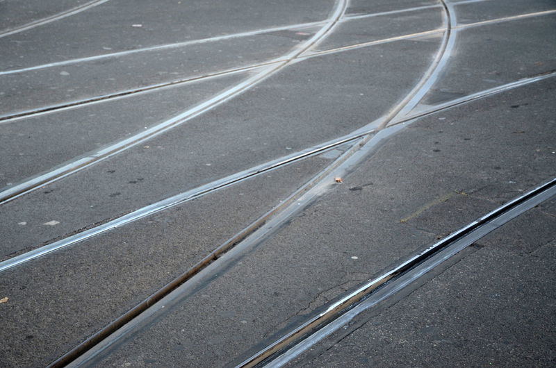 High angle view of railroad tracks on street