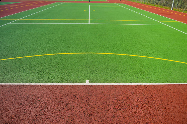 Close-up Court Day Empty Green Color Line Marking No People Outdoors Perspective Sport Sports Court Stadium Astro Turf Leading Lines