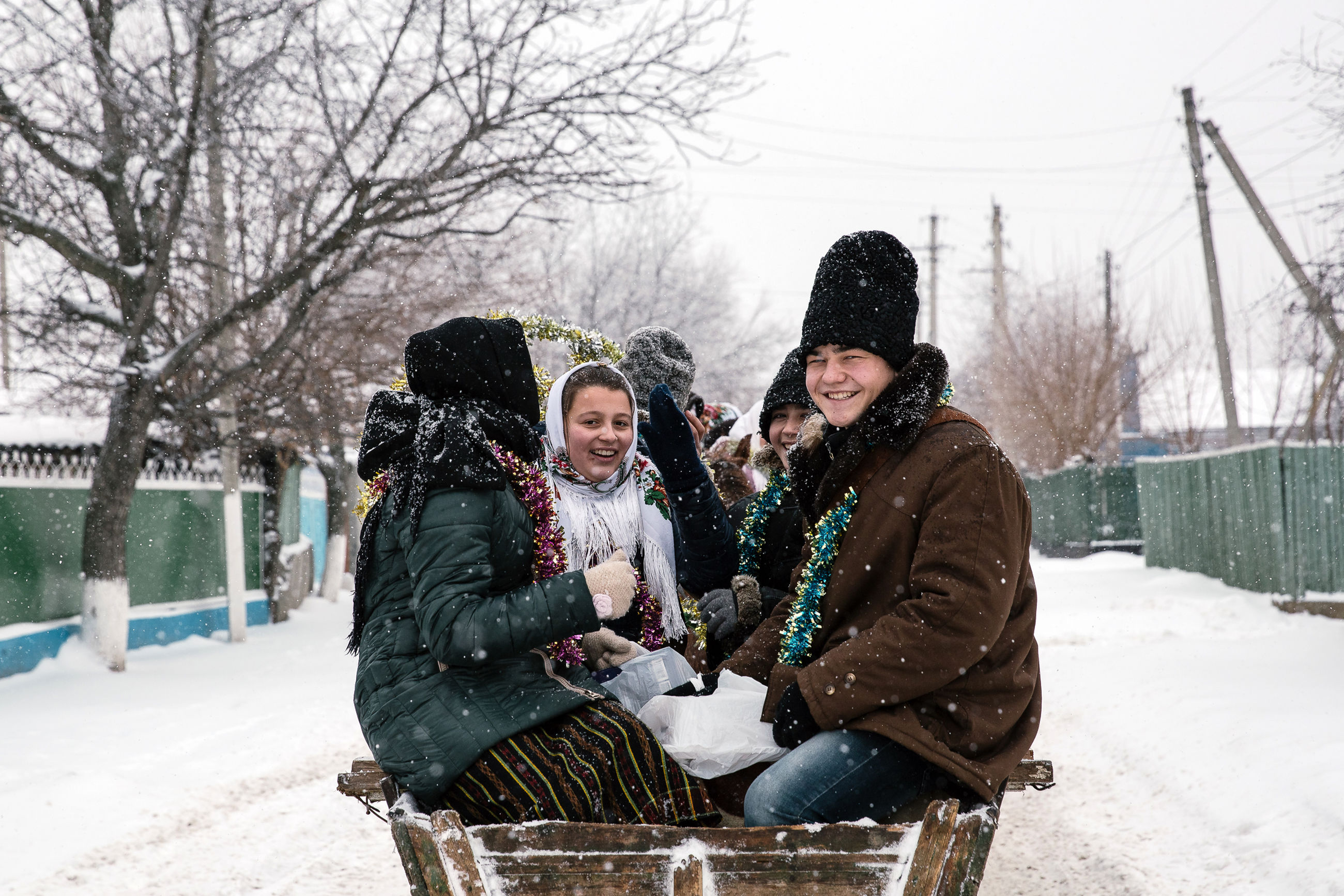 winter, cold temperature, snow, warm clothing, togetherness, clothing, tree, real people, bonding, nature, lifestyles, women, day, leisure activity, emotion, adult, females, people, bare tree, snowing, outdoors, extreme weather