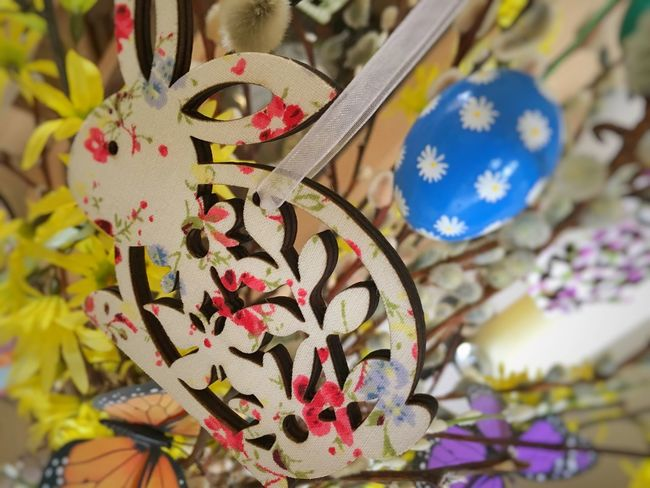 Close-up Hanging Flower Head Easter Tree Forsythia Tree Easter Egg Egg Easter Nature Animal Themes Flower Rabbit Decoration Bunny  Easter Bunny No People Day