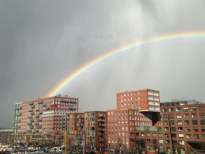 Westerdok Architecture Beauty In Nature Building Exterior Built Structure City Cityscape Cloud - Sky Day Double Rainbow Multi Colored Nature No People Outdoors Rainbow Scenics Sky Spectrum Tree Weather Westerdokskade