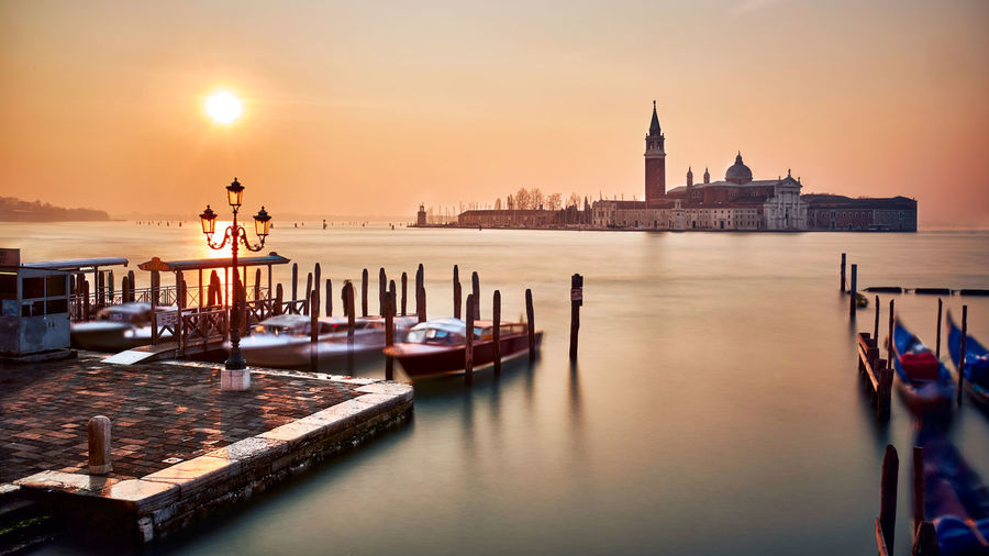 Mornig on the Laguna Architecture Building Exterior Church City Cityscape Morning Nautical Vessel Outdoors Reflection Sun Sunrise Travel Travel Destinations Vacations Venezia Venice Venice, Italy Venise