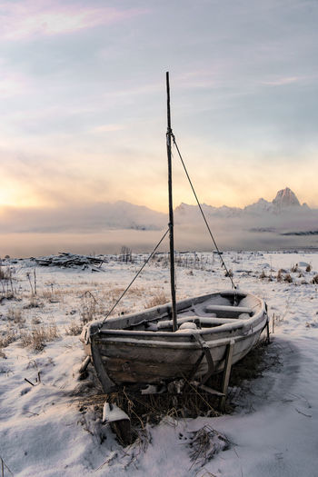 Cloud Norway Winter Abandoned Beauty In Nature Boat Cloud - Sky Cold Cold Temperature Colour Day Frozen Landscape Mode Of Transport Monochrome Moored Nature Nautical Vessel No People Outdoors Scenics Sky Snow Sunset Tranquil Scene Tranquility Transportation Viking Water Weather Winter