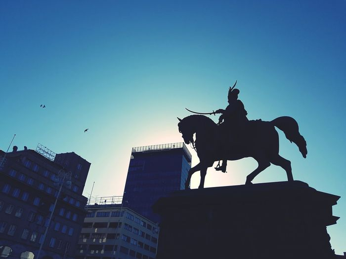 Zagreb main square Zagreb Main Square EyeEmNewHere Bana Josip Man On Horse Man On Horseback King - Royal Person City Statue Silhouette History Horse Sky Architecture Sculpture