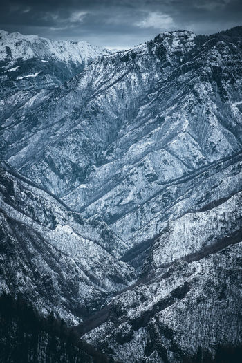 Aerial view of snow covered mountain