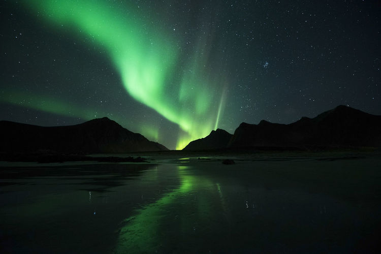 Scenic view of lake and mountains with auroras against sky at night