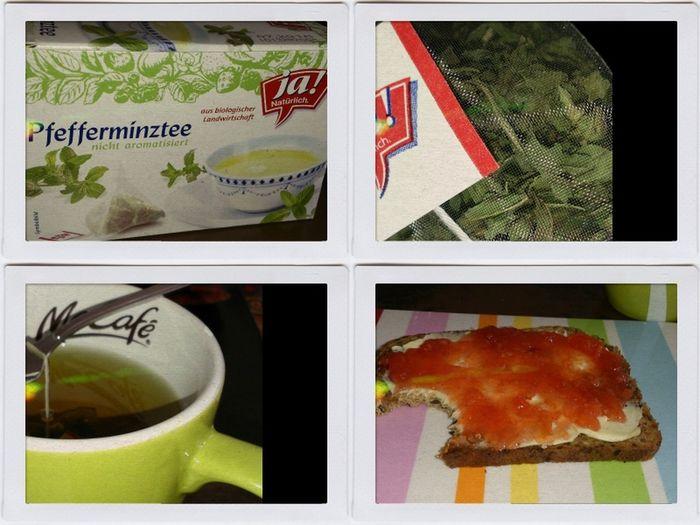 Frühstück Pfefferminztee von Ja! Natürlich und Blutorangenmarmeladebrot! ;-) guten morgen alle Freunde!! Februar 2014
