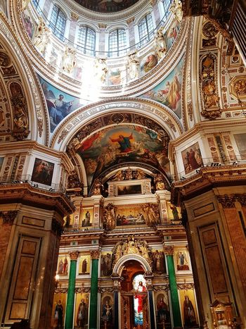 Saintpetersburg Russia Isaac's Cathedral Arch Low Angle View Religion Architecture Built Structure Place Of Worship Spirituality Church Cathedral Façade Architectural Feature Building Exterior Creativity Gothic Style Majestic Arched History Fresco Interior Gothic isaac