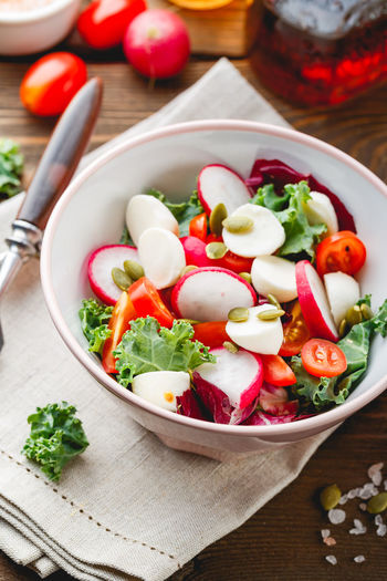 High angle view of salad in bowl on table