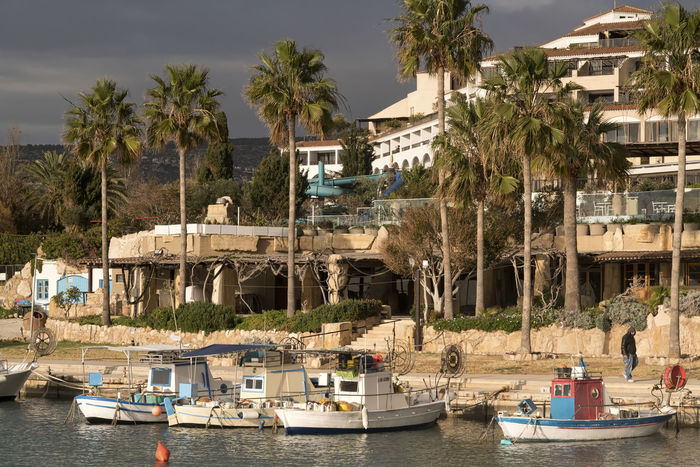 Marina Marina, Harbour, Boat, Boats, Fishing, Fishing Boat, Fishing Boats. Hotel, Beach, Beach Hotel Architecture Boat Building Exterior Built Structure Day Moored Nature Nautical Vessel No People Outdoors Palm Tree Sea Sky Transportation Tree Water Waterfront