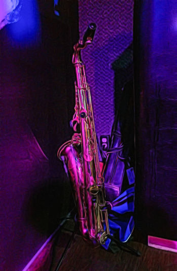 Jazz Night at the Avalanche Bar and Grill SaXoPhOnEs Arts Culture And Entertainment Brass Brass Instrument  Close-up Flooring Illuminated Indoors  Metal Music Musical Equipment Musical Instrument Nightlife No People Performance Purple Saxophone Shiny Stage Still Life Trumpet Wind Instrument