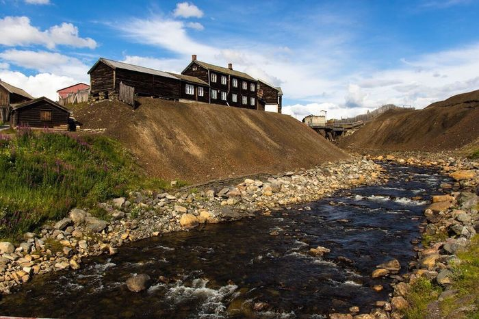 Røros, Norway. Røros Norway River Building Old Canon