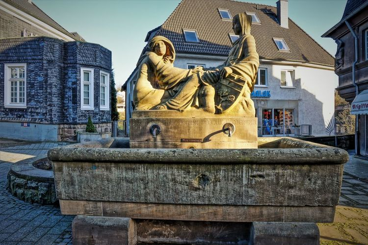 Frideruna-Fountain Architecture Building Exterior Built Structure City Day Foundet 819 Fountain Framehouses Frederuna Herdecke History Figure In Westphalia Male Likeness No People Old Town Square Outdoors Place Of Worship Sculpture Sky Small Town Statue Travel Destinations Village Photography