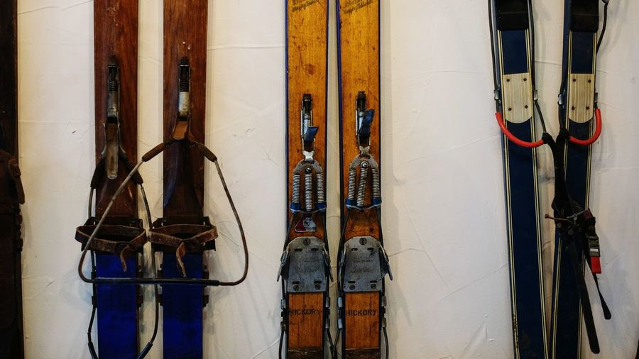 old skis Skiing Skis Winter Sport Winter Historic