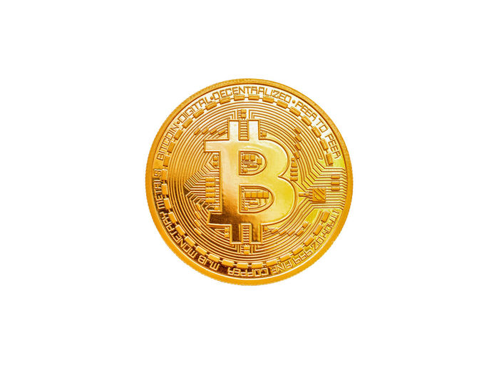 Studio Shot White Background Copy Space Single Object Close-up Indoors  Finance Still Life Cut Out No People Gold Colored Wealth Business Currency Shape Pattern Coin Design Geometric Shape Circle Bitcoin Bit Coin