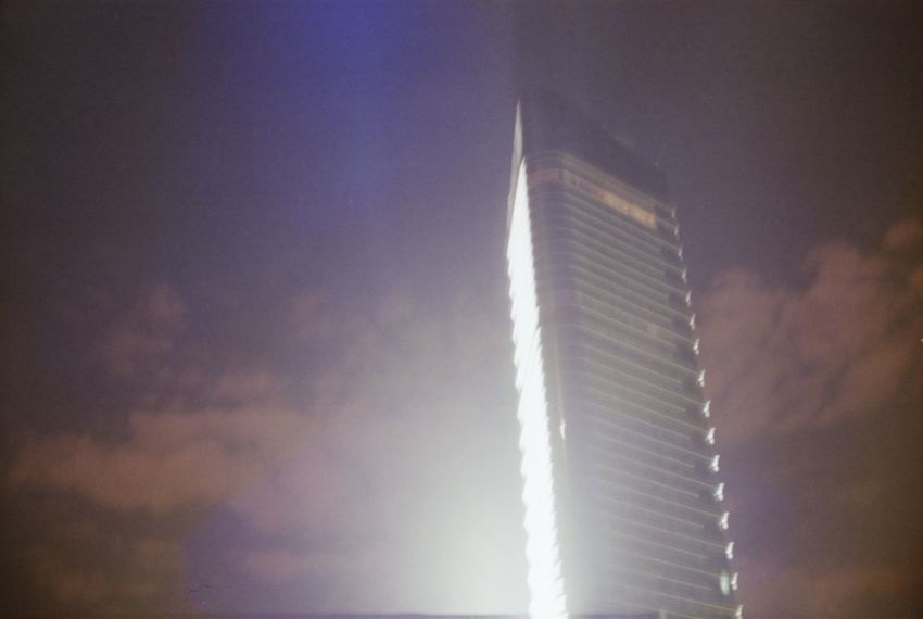 Analogue Photography Architecture Building Exterior Hyatt Long Exposure Low Angle View Moon Night No People Outdoors Reflection Sky Xinghai Square