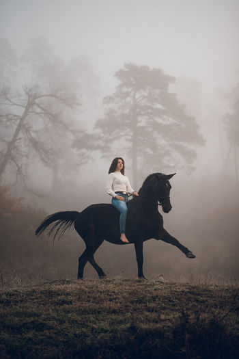 Woman riding horse in a field