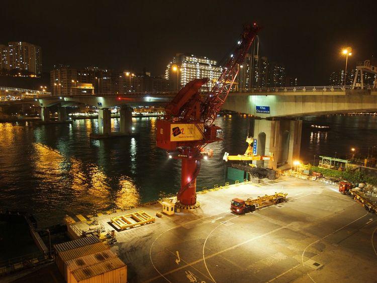 HongKong Night City Transportation Light Tsing Yi Close Up Technology