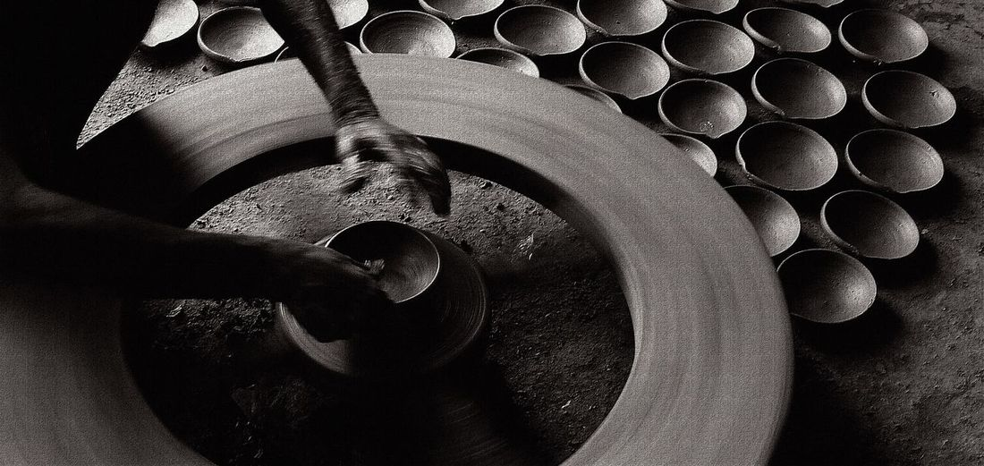 Pot making Rural Industry india Earthen Pots Black And White Photography Potters Wheel Pottery Village