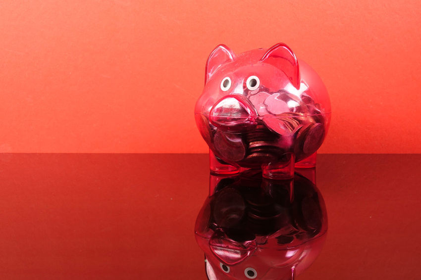 Saving concept with red piggy bank on red background. Piggy Bank Animal Representation Close-up Coin Colored Background Conceptual Photography  Creativity Glass - Material Indoors  Investment Mammal No People Piggy Bank Red Red Background Representation Saving Concept Savings Still Life Studio Shot Table Toy Transparent Wall - Building Feature