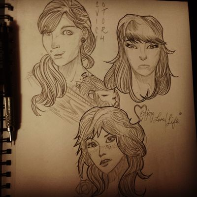 Beautiful Portrait Of A Woman Sketches I do as an Artist to warm up in the mornings .