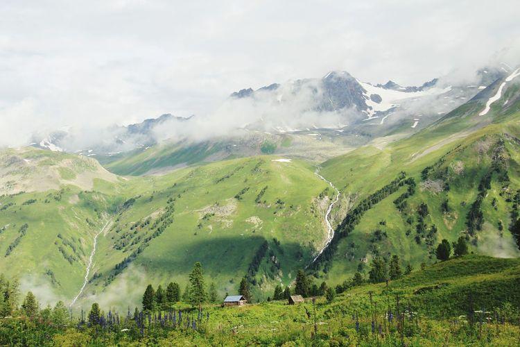 Lodge Sunlight Landscape Sunny Day Outdoor Altay Tree Mountain Fog Streaming Mountain Range Lush - Description