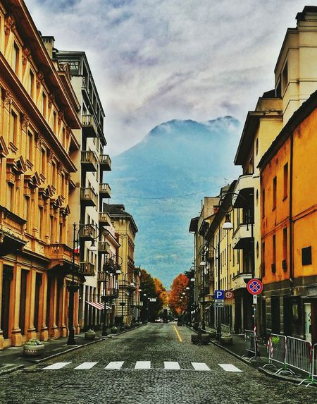 Street's of Aosta Aosta Outdoors The Way Forward Sky Day Architecture Tranquility Green Color Nature Fog Foggy Mountains Italytrip
