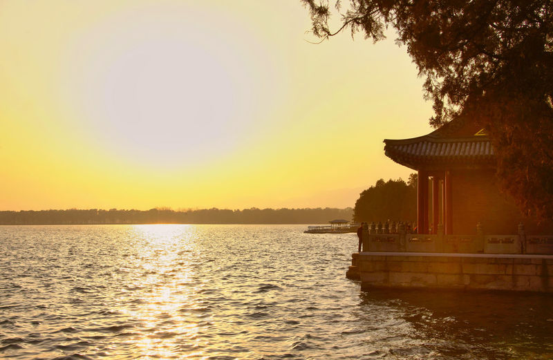 China Beijing Summer Palace Bejing Summer Palace Old A Summer Retreat For Imperial Fa Water Sky Architecture Sunset Built Structure Building Exterior Tree Nature Reflection Waterfront Plant Beauty In Nature Lake Scenics - Nature Tranquil Scene Clear Sky Orange Color Tranquility No People Outdoors