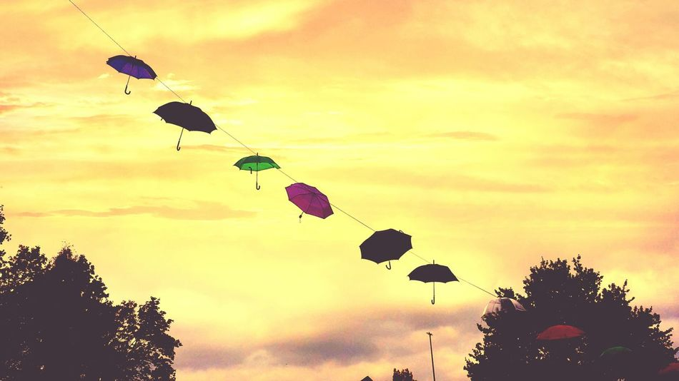 Deceptively Simple Rain Is Coming Umbrella Art Hamburg Germany In The Air Hovering